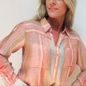 Anthropologie Maeve Colorful Striped Button Top